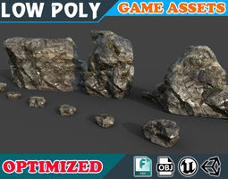 Low poly Realistic Wet Mossy Rock pack 002A3 3D asset