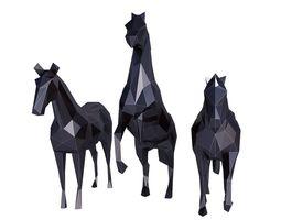 Horse Low Poly Set 3D asset