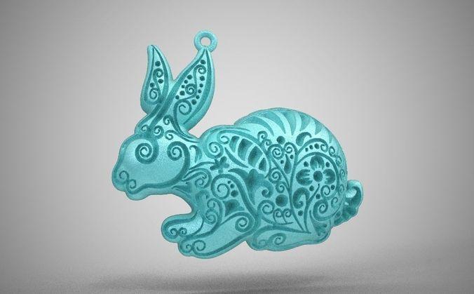 rabbit necklace 3d model obj mtl stl 1