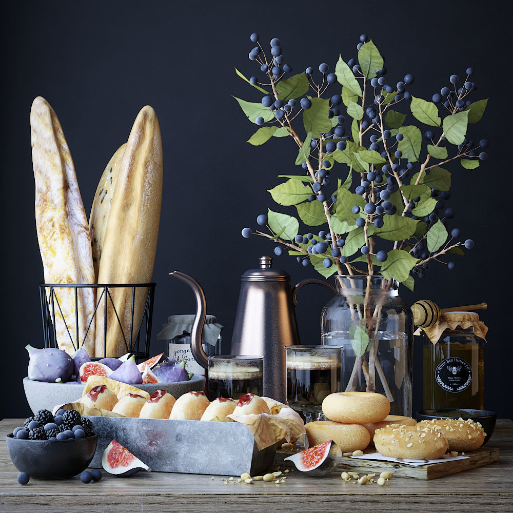 Kitchen set with bread and donuts