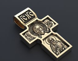 3D print model Cross with the Savior and St George the 1