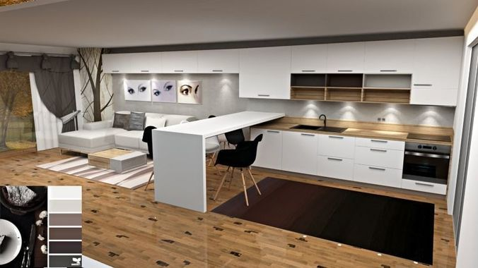 modern kitchen and living room colour scheme 3d model