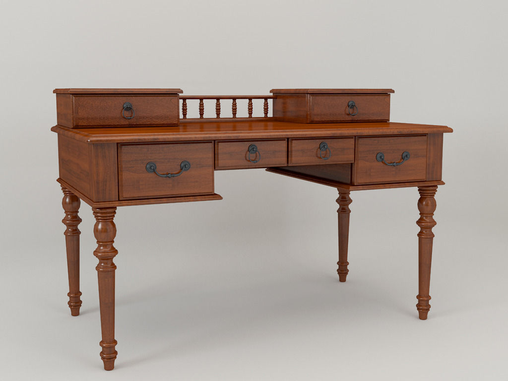 American Country Style Desk 3d Model Max 1