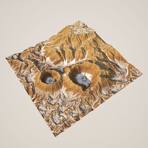3d crater mountain and texture - high poly 3d model obj mtl fbx 1