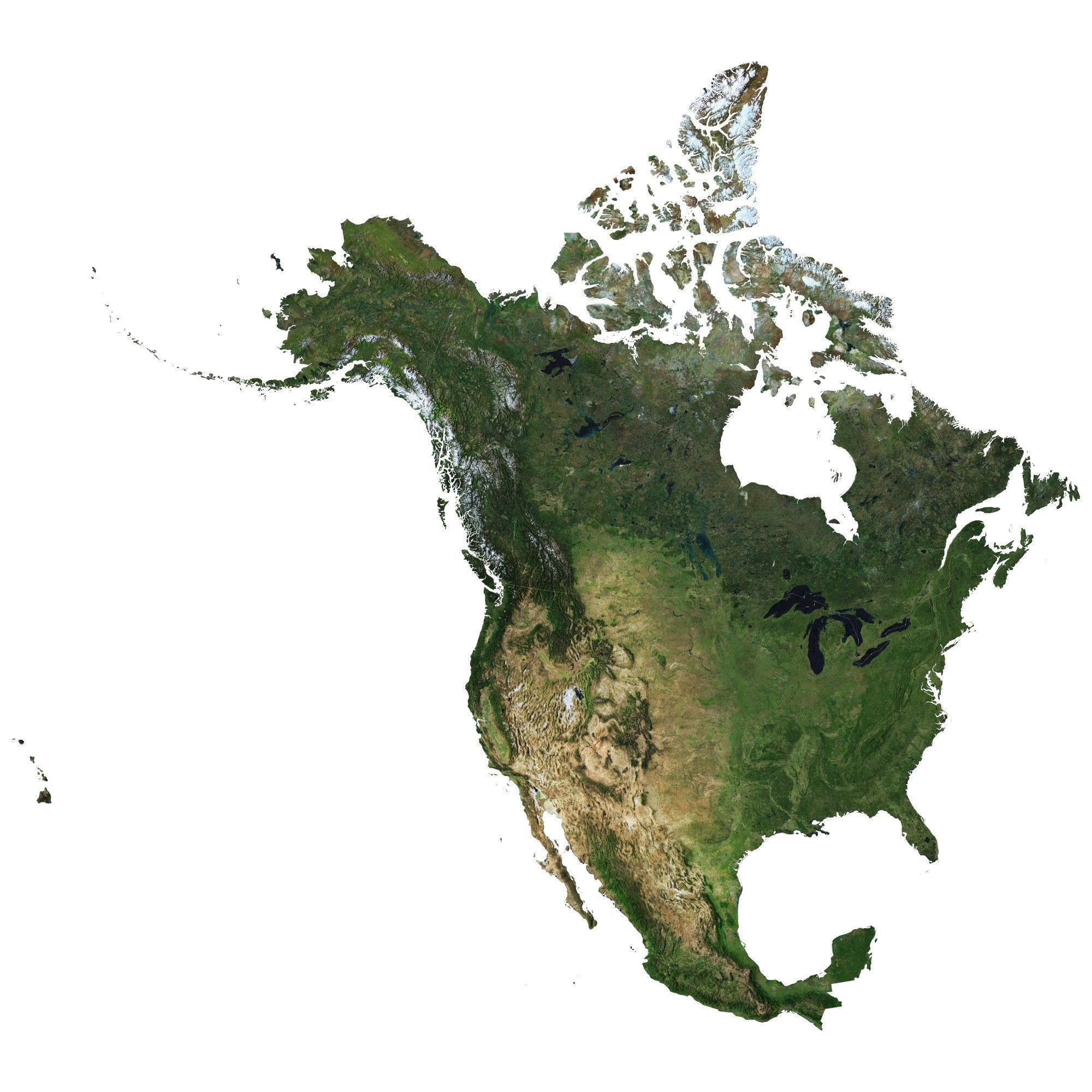 High detailed relief map of USA-Canada-Mexico