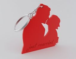 just married keychain 3d print model