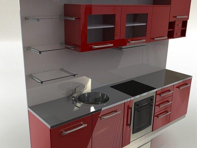 Kitchen 3d Model 3d quadro kitchen   cgtrader