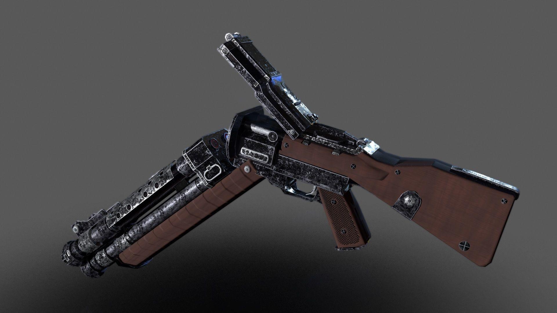 Three barrel shotgun 3d asset cgtrader three barrel shotgun 3d model fbx 3 thecheapjerseys Choice Image