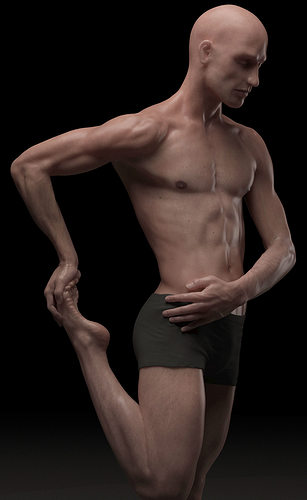hyper realistic human male ballet dancer stretching 3d model obj mtl 1