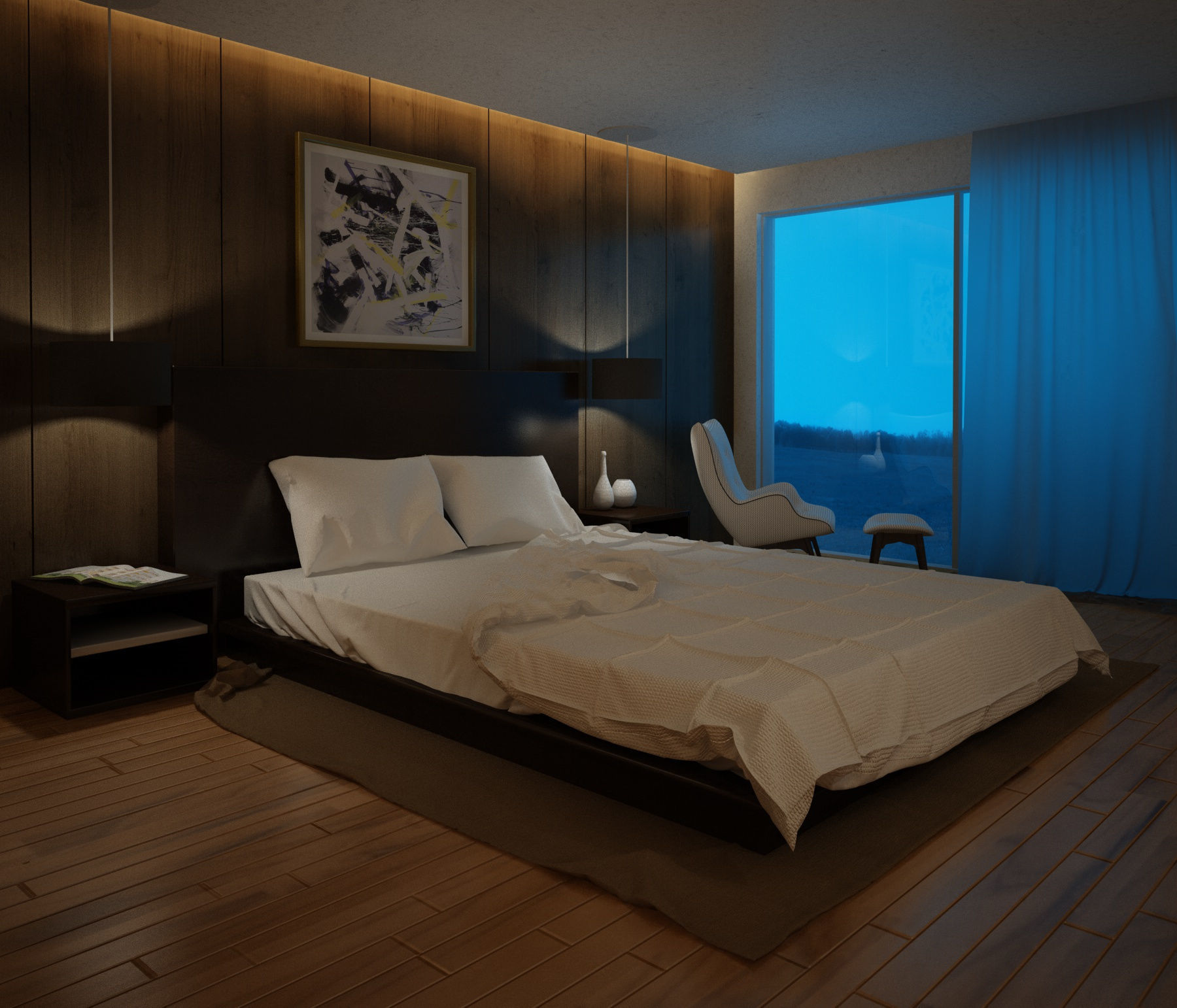 3d Interior Bedroom Night 001 Cgtrader