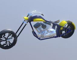 3D asset Custom Chopper Bike Harley Davidson
