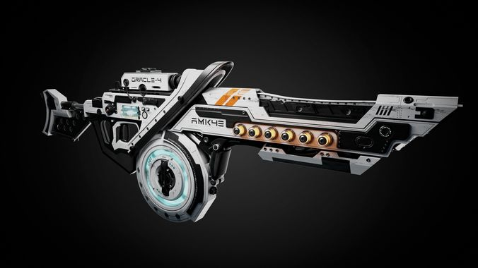 sci-fi gun for blender 3d model fbx stl blend 1