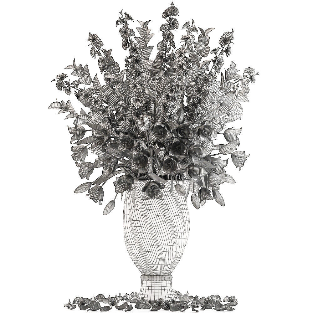 cherry Bouquet of spring flowers tulips 3D model