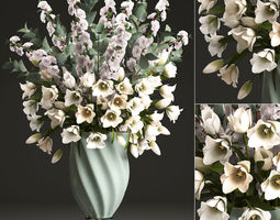 3D Bouquet of spring flowers tulips