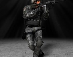 US Ranger Rigged white Mocap Animation 3D asset