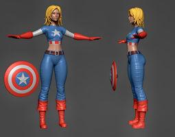 Captain America Lady 3 3D