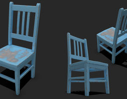 PBR game-ready 3d asset old  painted wooden chair