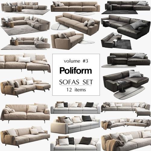 poliform 12 sofas set 3d model max obj mtl fbx 1