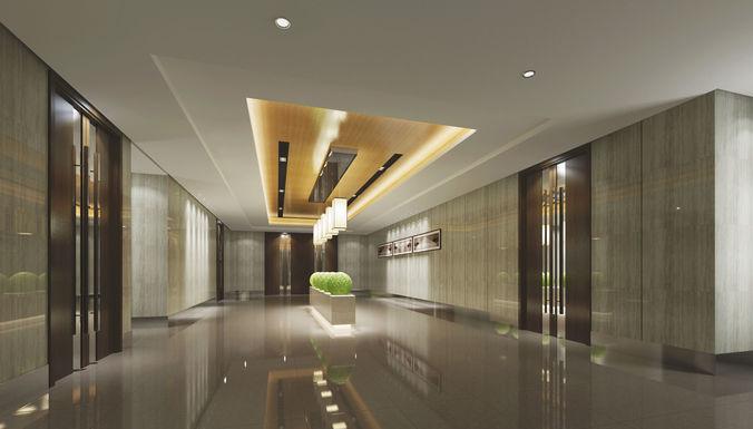modern lobby office building 3d model max fbx c4d tga 1