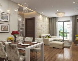 3D Apartment livingroom cream