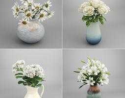 3D White Flower Bouquet in Vase