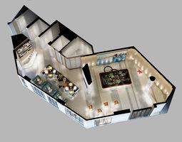 3D model Detailed Office reception Interior Scene