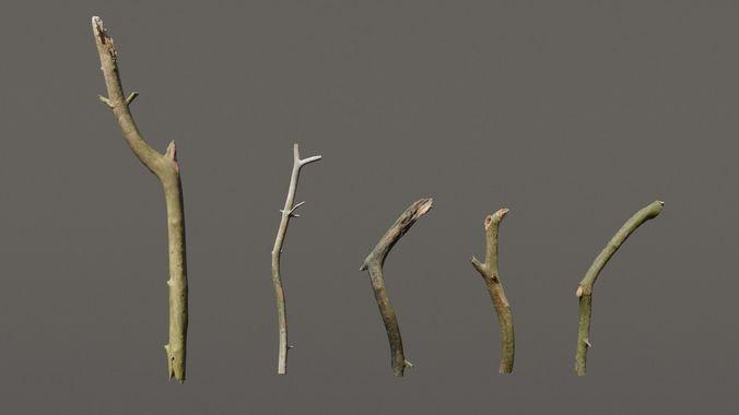 5 sticks pack 1 photoscanned  3d model fbx blend 1