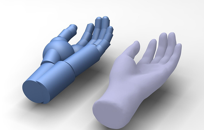 reverse engineered hand model using simple features 3d model stl 1