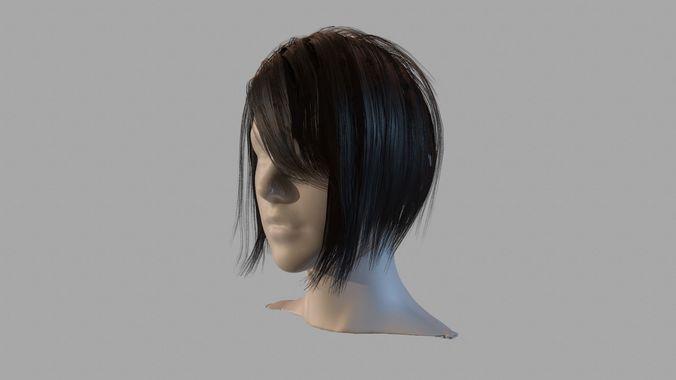 black hair 3d model low-poly obj mtl fbx tga tbscene tbmat 1