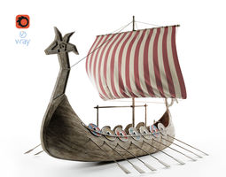 Viking Ship 3D model low-poly boat
