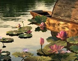 3D Pond Scene with Waterlillies