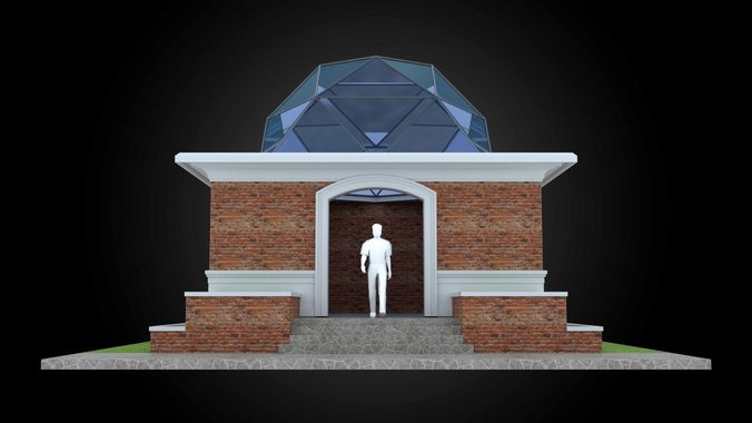 dome 6x incl base structure with entry opening 3d model obj mtl 3ds fbx dxf stl dae 1