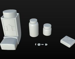 3D model low-poly Clean Medecine Set D180302