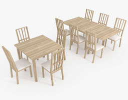 3D model Table and chair furniture set - lowpoly