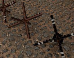 3D asset anti-tank hedgehog set 3 PBR