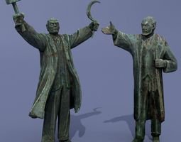 3D model Two monuments of Lenin