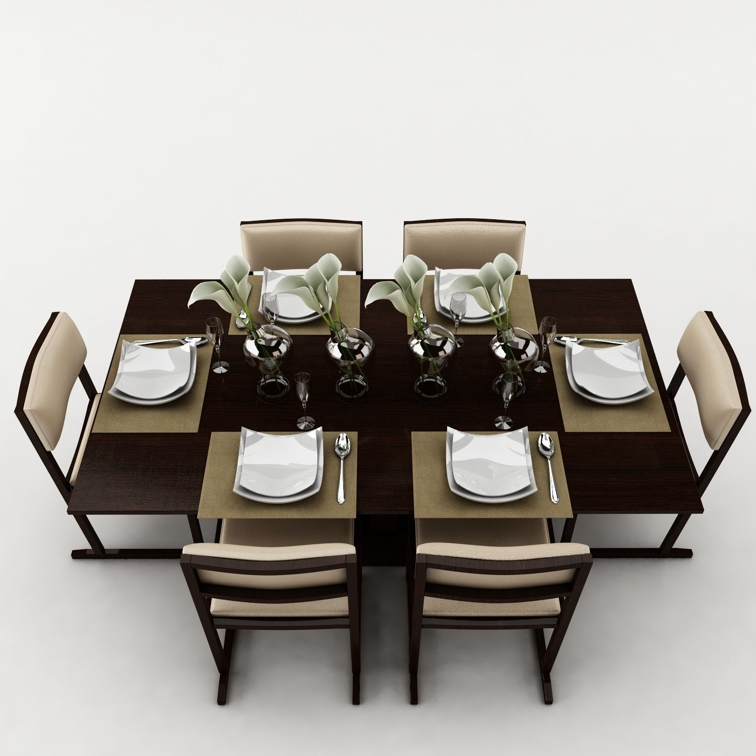 Dining table set 20 3d model max obj 3ds fbx for Dining room table 3ds max