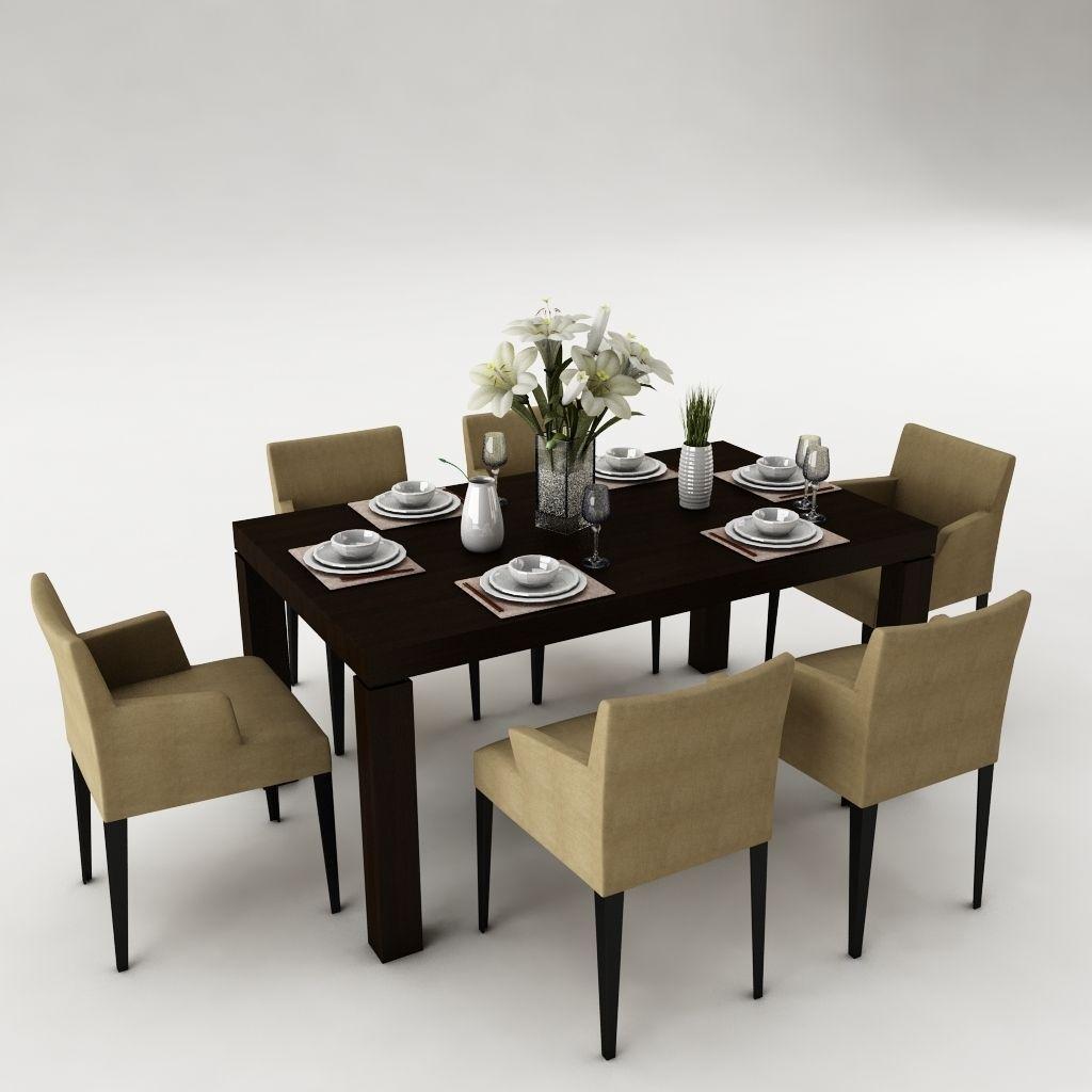 Dining table set d model max obj ds fbx mtl