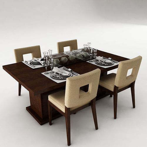 3d model dining table set architectural cgtrader. Black Bedroom Furniture Sets. Home Design Ideas