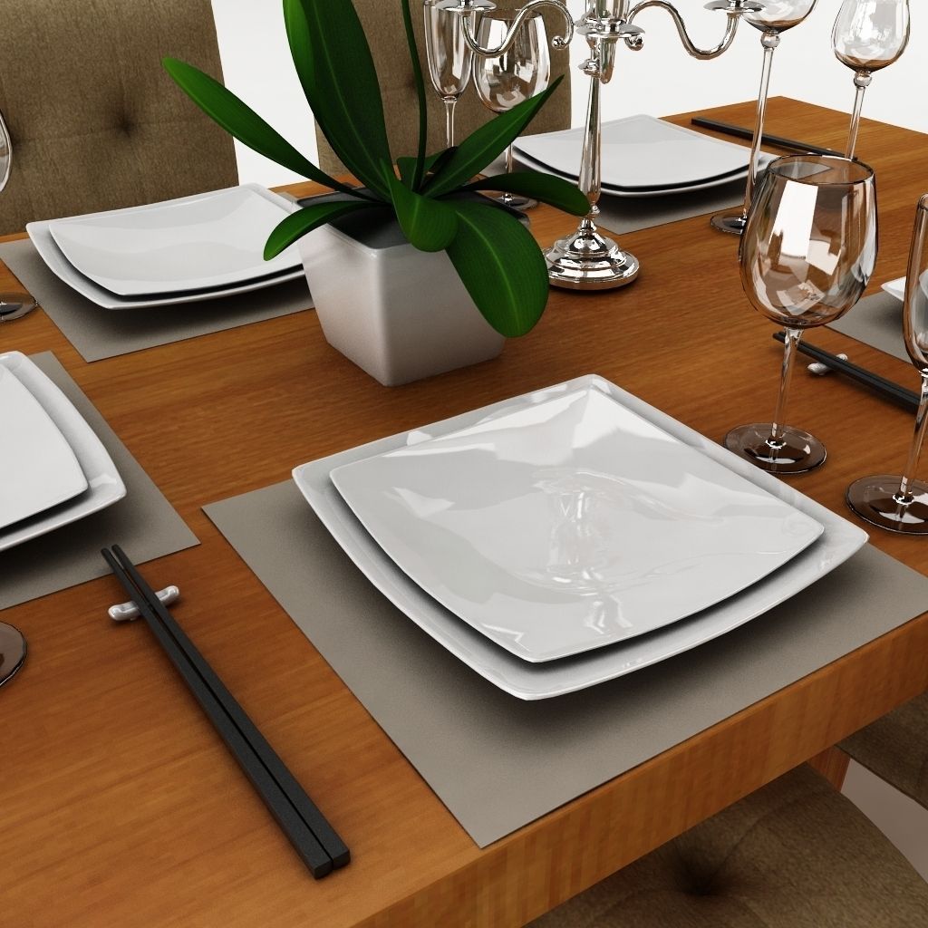 Dining table set 24 3d model max obj 3ds fbx for Dining room table 3ds max
