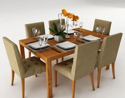 Dinning 3d models cgtrader for Dining room table 3ds max
