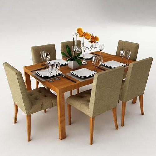 Dining table set 24 3D model MAX OBJ 3DS FBX MTL : dining table set 24 3d model max obj 3ds fbx from www.cgtrader.com size 500 x 500 jpeg 29kB