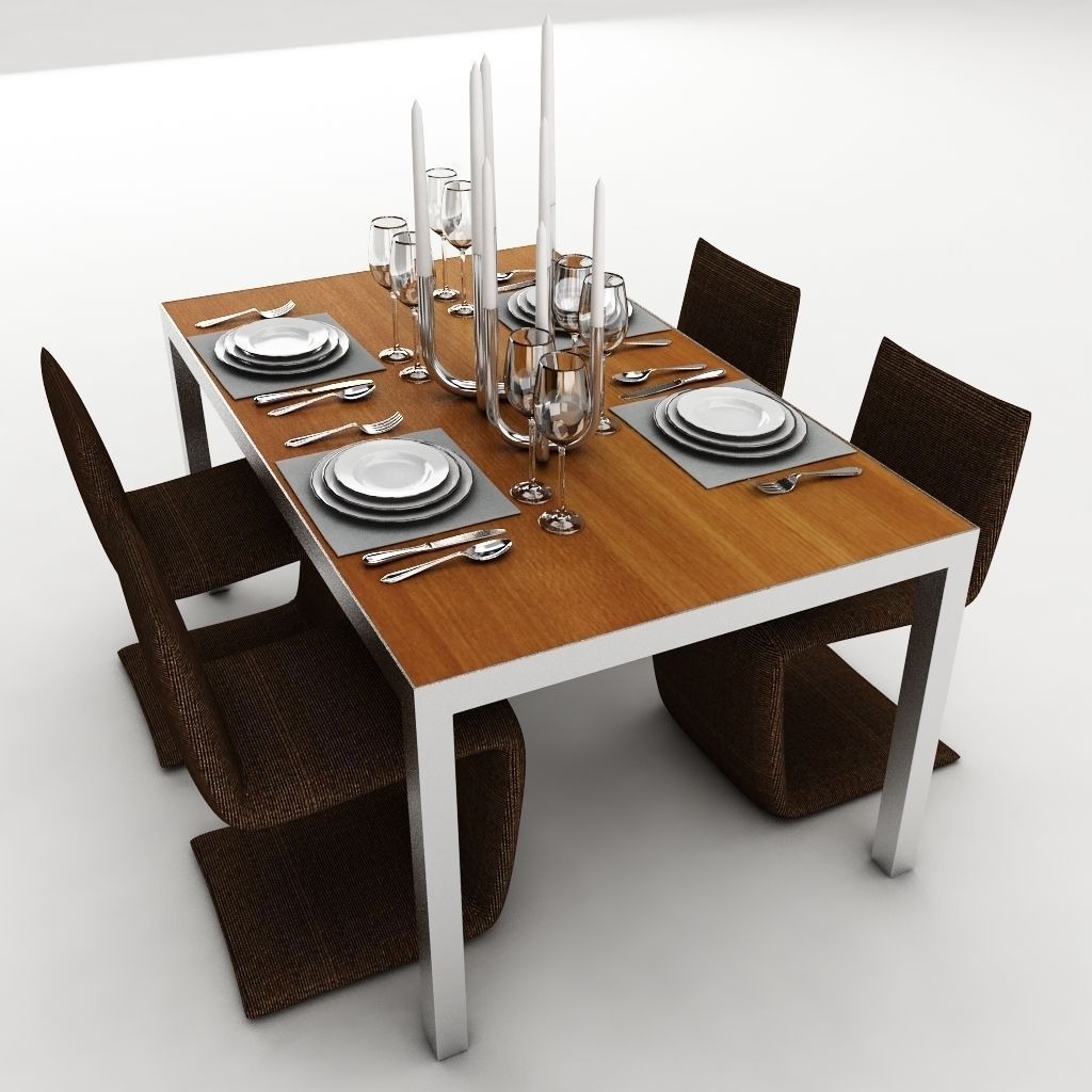 Dining table set 25 3d model max obj 3ds fbx mtl for Dining table models