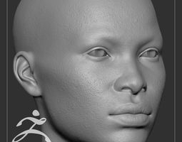 Average Black Female Head Basemesh 3D human