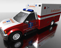 red ambulance minibus for games 3d