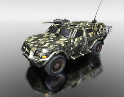 camouflage vehicle for games 3d model
