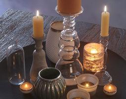 3D model Romantic candles set