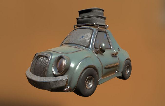 cartoon car classic 3d model max obj mtl 1