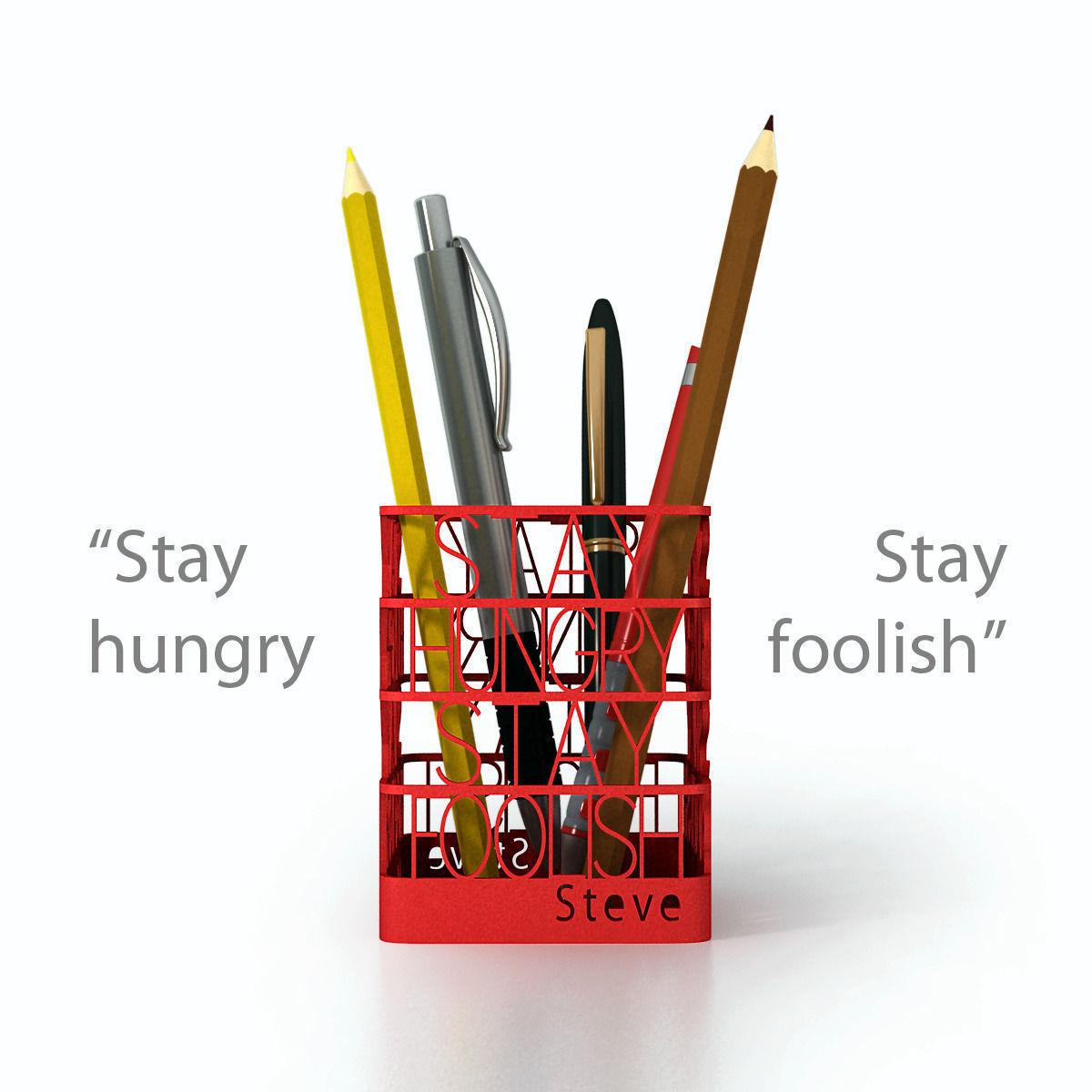 3D Printable Model Steve Jobs Quote Pen Holder