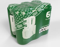 Model of 6x 500ml cans in a plastic shrinkwrap 3D
